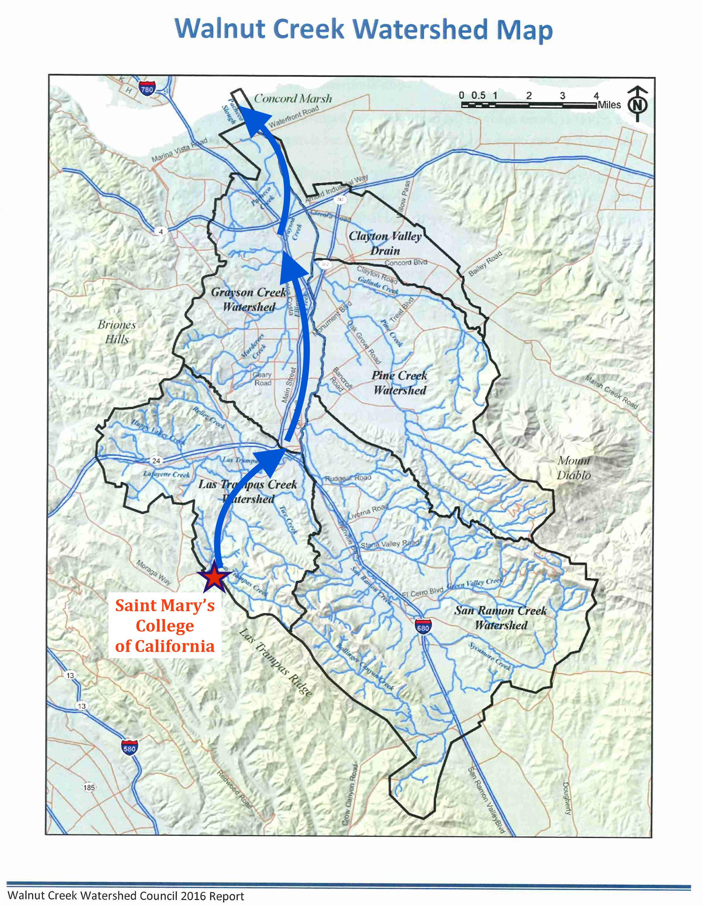 Walnut Creek Watershed Map, provided by the Walnut Creek Watershed Council