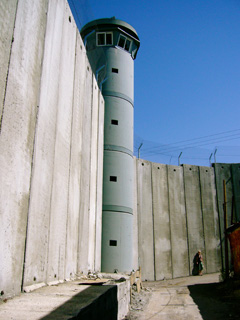 The imposing wall separating the West Bank from Jerusalem.