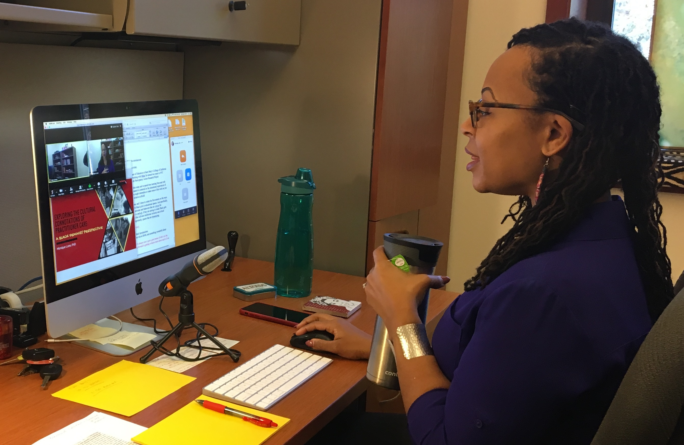 Professor Monique Lane using Zoom for online office hours