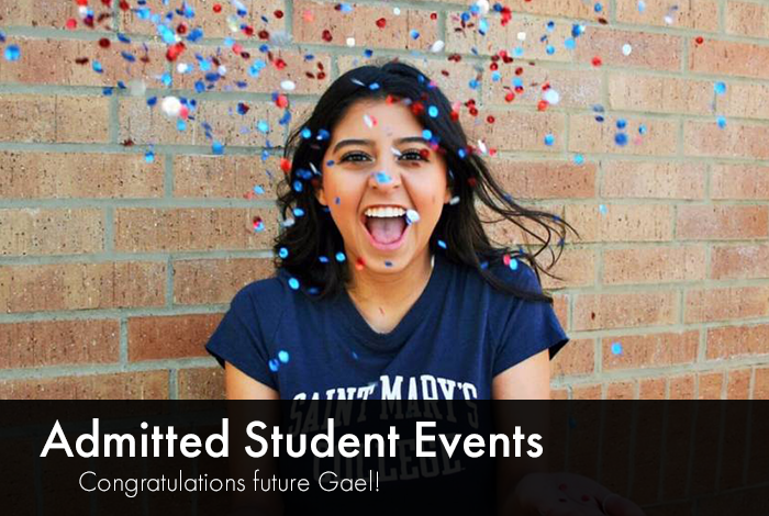 student celebrating with read and blue confetti