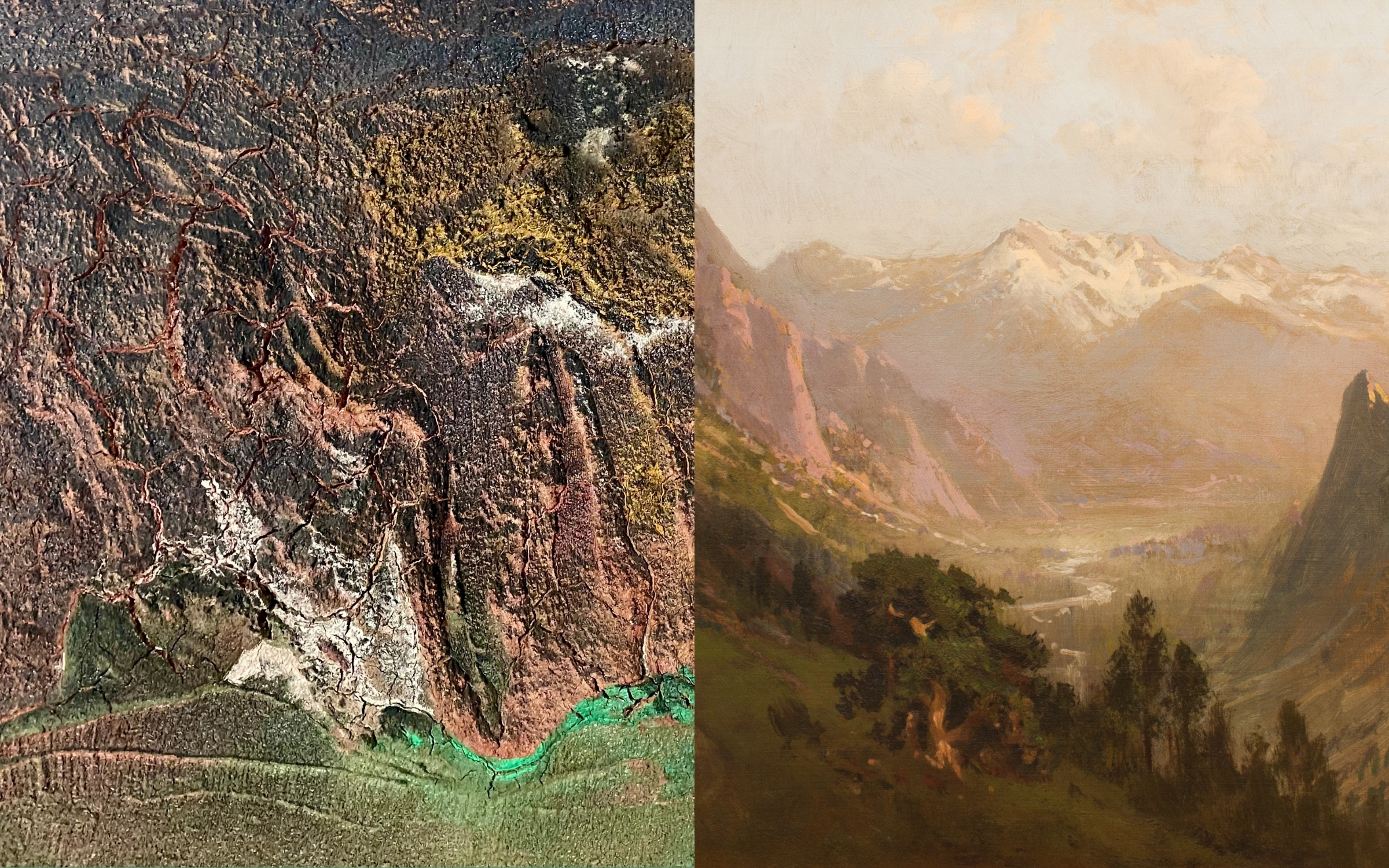 Image: detail left, Milton Komisar (1935) Techtonic Plates, 2003, Acrylic and concrete on canvas, Gift of the artist, Saint Mary's College Museum of Art Permanent Collection. [4.2006.2] detail right, William Keith (1838–1911) High Sierra Canyon (c. 1900–1905) Oil on canvas, Gift of Benjamin H. Lehman, Saint Mary's College Museum of Art Permanent Collection [0-91].