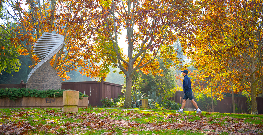 student walks across campus in fall foliage