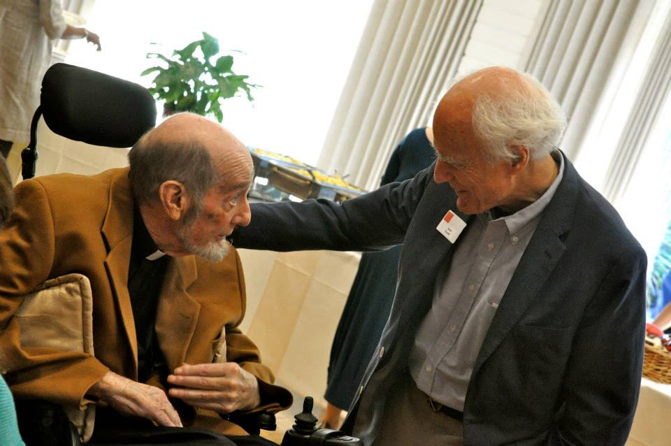 Drs. Brian Hall and Dean Elias greet one another at the 10-year celebration for Leadership Studies at Saint Mary's College, on September 28, 2013.  Brian Hall passed away only a few weeks later.