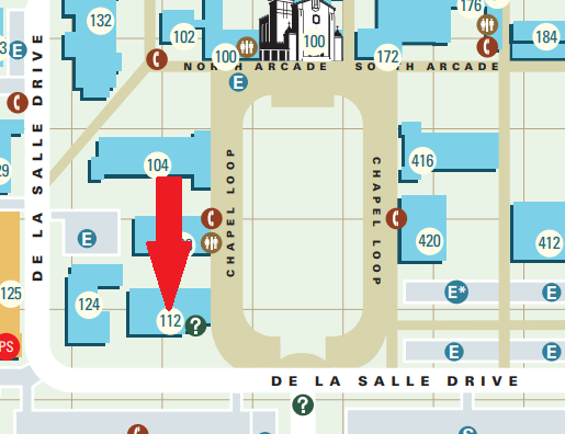 Clip from official campus map showing Payroll Office location in detail (E5).