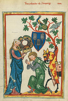 A knight being armed by his lady in the Codex Manesse (early 14th century)