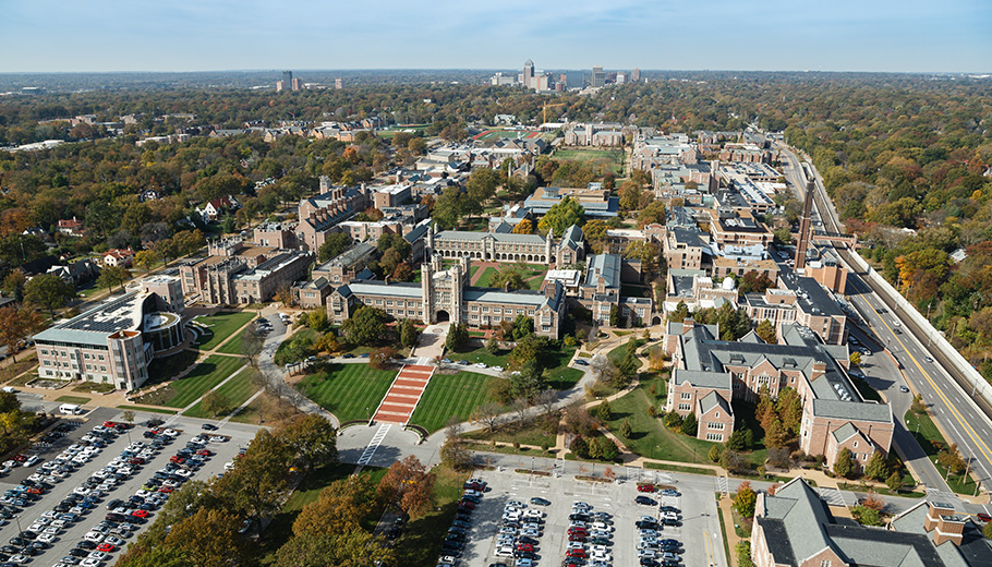 An arial view of the Danforth college at Washington University