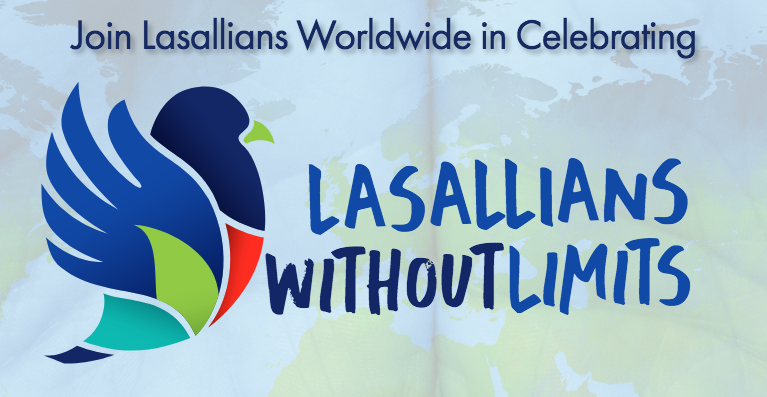 image of colorful, mosaic dove over watermark of world maptext: Join Lasallians worldwide in celebrating LASALLIANS WITHOUT LIMITS