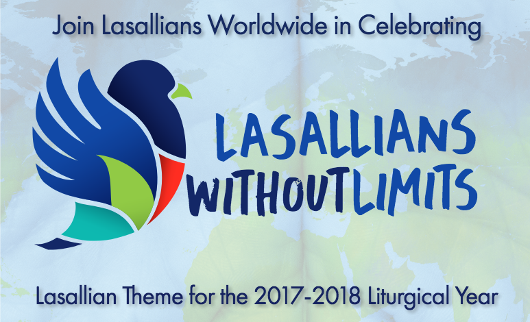 image of colorful, mosaic dove over watermark of world maptext: Join Lasallians worldwide in celebrating LASALLIANS WITHOUT LIMITS , Lasallian theme for the 2017-2017 liturgical year