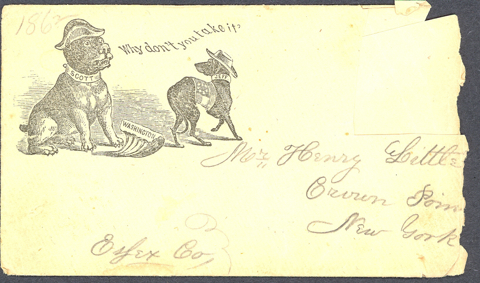 Envelope from Forrest to his parents