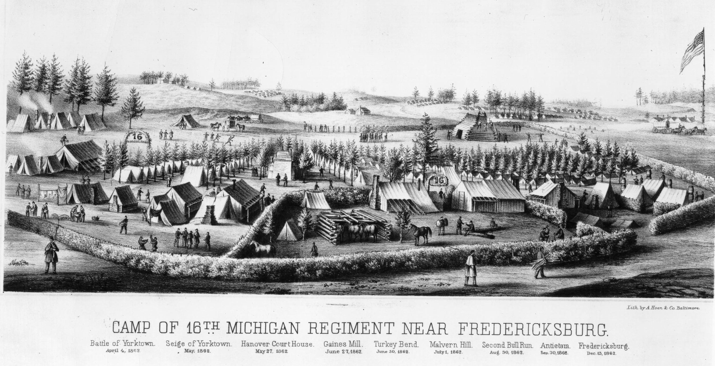Camp of 16th Michigan near Fredericksburg, 1862
