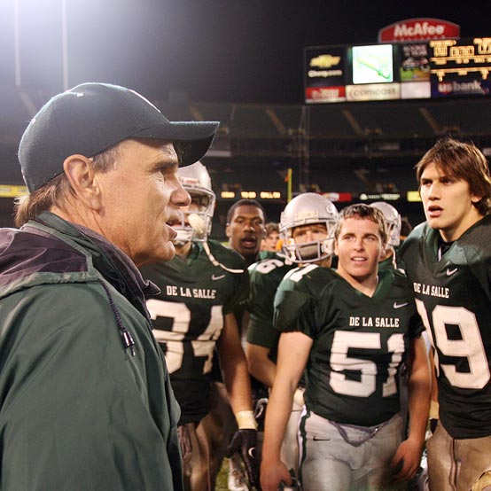 Bob Ladouceur coaching football team during a game.