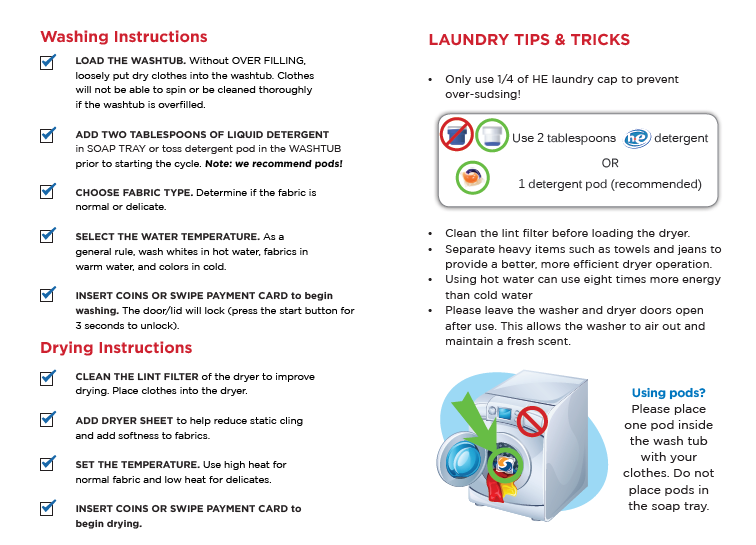 Write instructions on the washer with dry-erase markers.