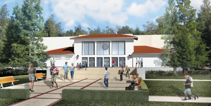 Rendering of new McKeon Pavilion exterior.
