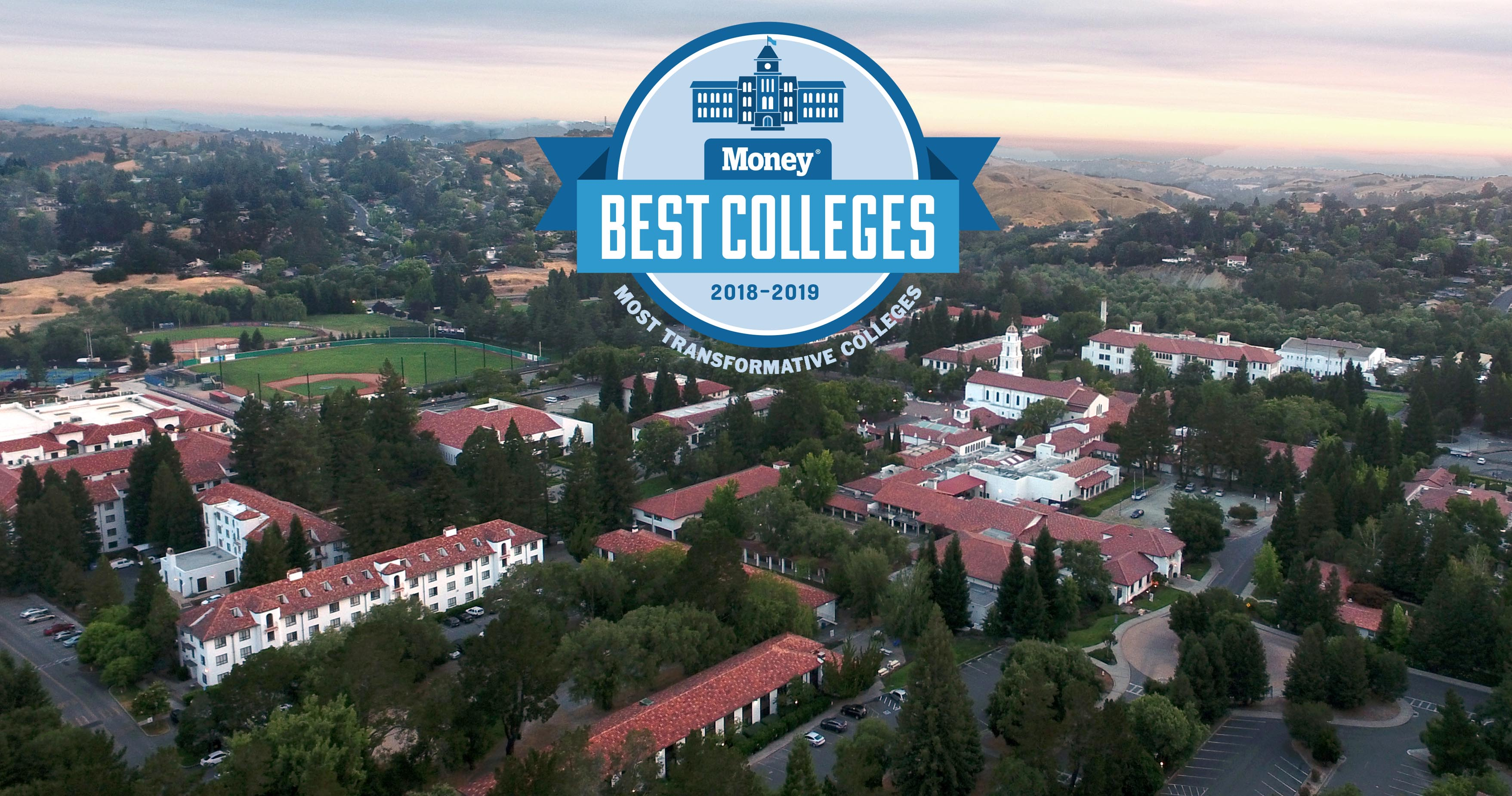 Money's Most Transformative college logo superimposed over a photo of campus