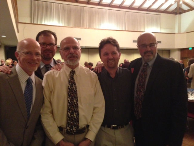 Several of the members of the TRS Department faculty gathered for a photo after a recent all-faculty dinner at which Norrie Palmer, David Gentry-Akin, and Paul Giurlanda were honored for their many years of continuing service to the college. (Left to right: Tom Poundstone, Michael Barram, Paul Giurlanda, Zach Flanagin, Norrie Palmer)