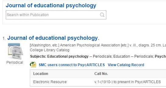 screen capture of ebsco results
