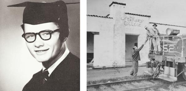 The last run of the Sacramento Northern Railway was in 1957. We think this picture was taken sometime before then, and that the young man reaching up is, indeed, DeWitt James Robbeloth '58, shown in his senior yearbook picture.