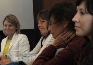 Provost Beth Dobkin, lunch guest at the August 2013 COD facilitator training, with Gloria Sosa, Sunny Bradford and Michelle Dimmett