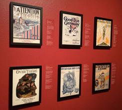 Exhibit of sheet music covers circa WWI