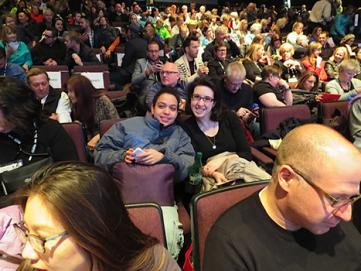 Students Sonja Flores (L) and Leah Weidman (R) in a crowd of movie lovers at Sundance Film Festival.