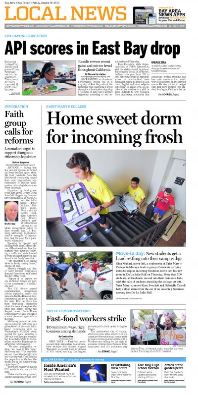 Page 1 of the Aug. 30, 2013 Contra Costa Times Local News page shows