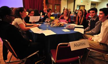Students eagerly waited for their alumni volunteer mentors.