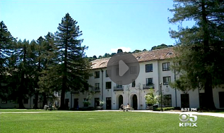 "KPIX-TV image of SMC's campus from its report ""Saint Mary's Program Helps 1st Generation College Students."""