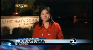 KTVU-TV's Jana Katsuyama reporting on SMC student reactions to the second presidential debate in the 2012 election cycle.