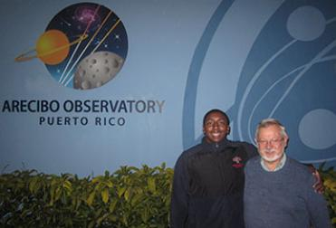Professor Ron Olowin with student Leland Moore at the Arecibo Observatory in January.