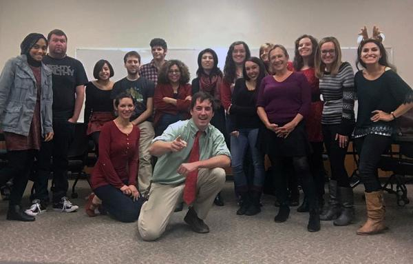 Fiction students celebrating the fall 2015 semester