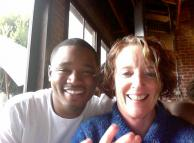 Filmmaker Ryan Coogler and SMC's Rosemary Graham catching up in a Bay Area cafe.