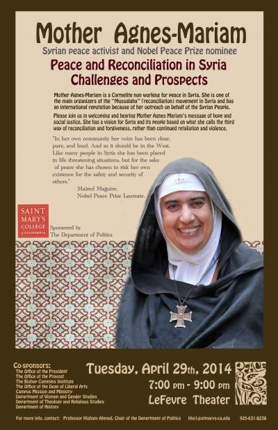 Mother Agnes-Mariam speaks at SMC - April 29, 2014, 7:00-9:00pm LeFevre Theater