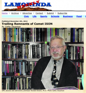 Ron Olowin interviewed by the Lamorinda Weekly about Comet ISON