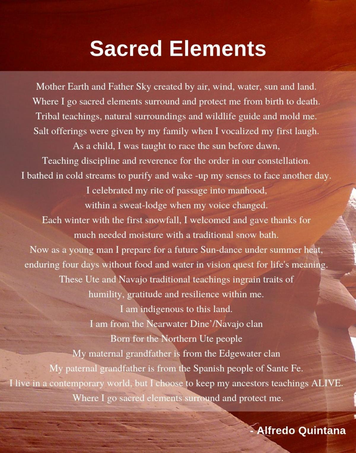 """""""Sacred Elements"""" by Alfredo Quintana; River of Words 2018-19 Poetry Finalist."""