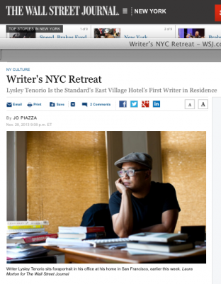 WSJ Story about Lysley Tenorio receiving a new writers in residency award from the Hotel Standard in NYC's East Village.