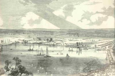 White House Landing, with Union troops swimming in the Pamunkey River