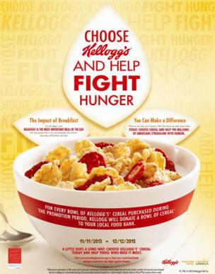 Kellogg's help fight hunger poster.