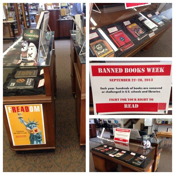Photo of the Library's Banned Books Week Exhibit