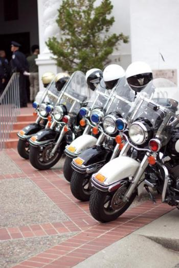 motorcycles in front of chapel