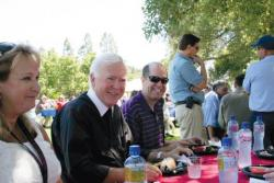 Brother Ron enjoys a campus BBQ with the Saint Mary's community in 2011.