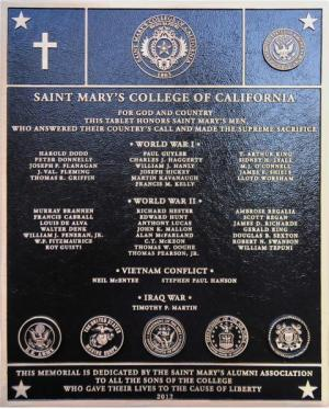 The veterans memorial plaque honors fallen Gaels who served their country.