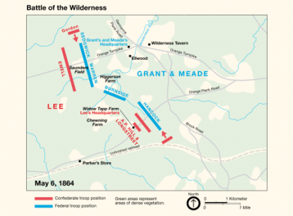 Map of Battle of the Wilderness.