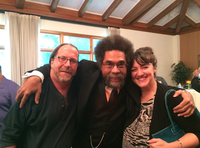 Professor John Ely and Cynthia Ganote with Cornel West at the SMC Social Justice Conference 2014.