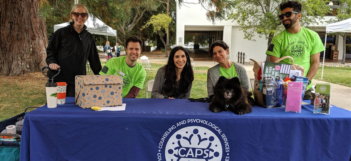 From left to right: Cynthia Cutshall, Roni Kholomyansky, Leah Khaghani, Jennifer Panish, Joey the therapy dog, and Abid Niazi. Not pictured: Heidi Tend, Dai To, Roman Rodriguez, and Thomas Jones.