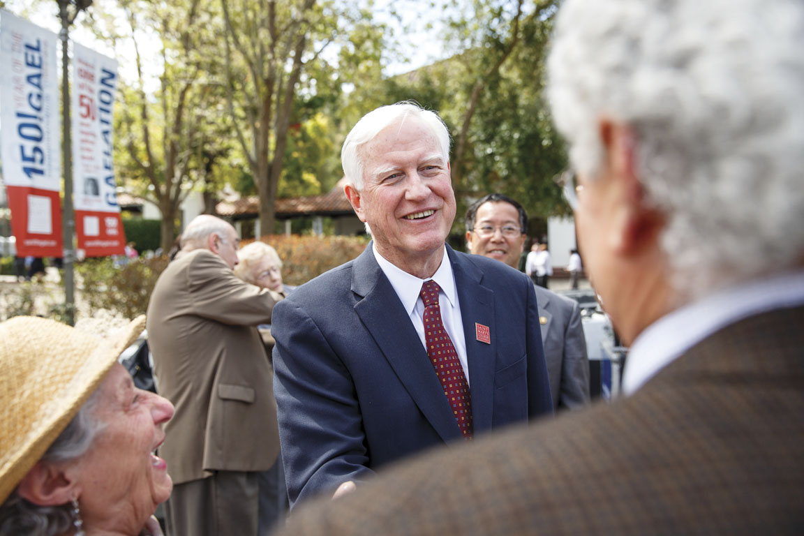 Jim Donahue meeting members of the Saint Mary's community at the announcement on March 26 of his selection as the 29th president of the College.