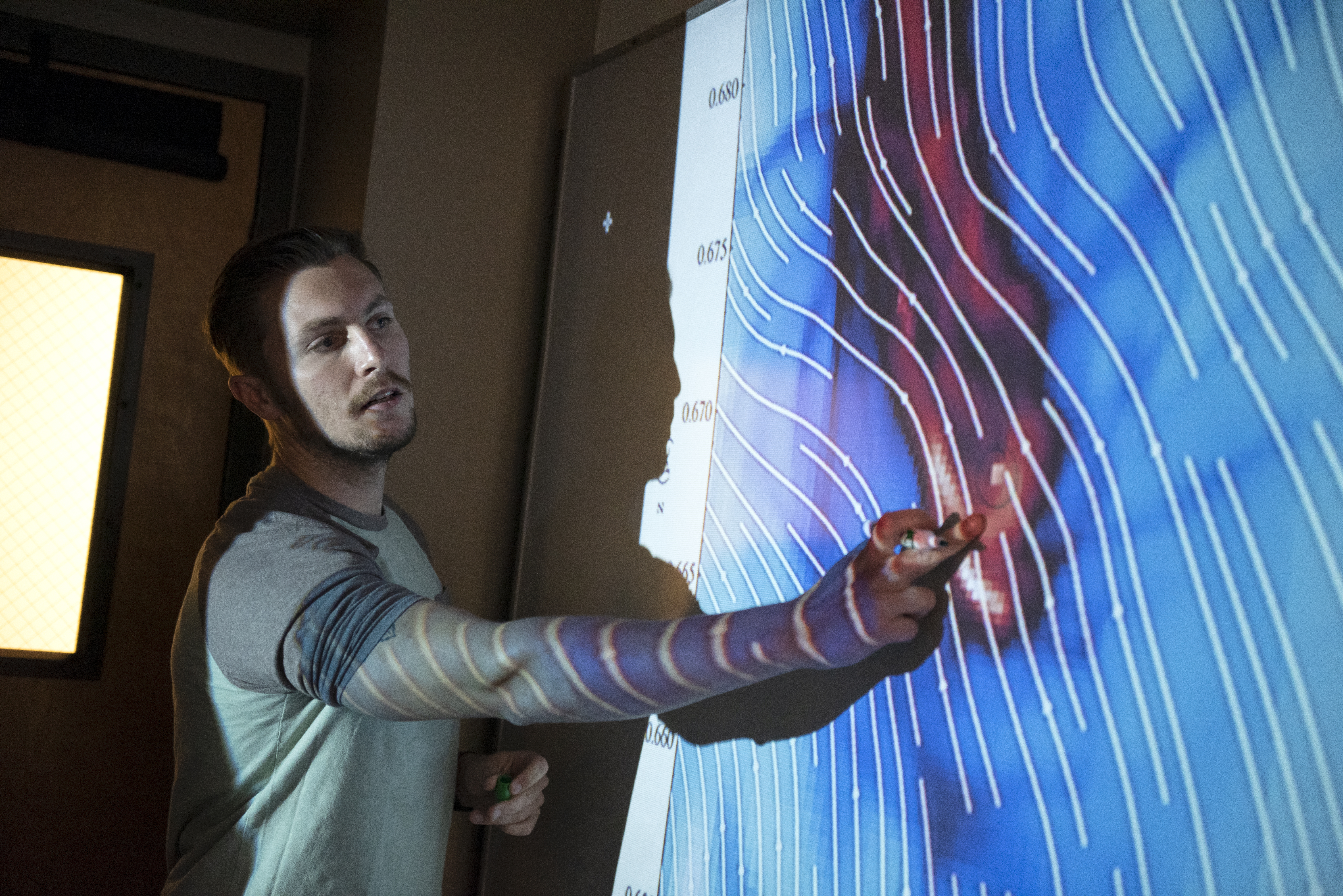 Justin Jerome '22 identifies a region of the simulation that is going to form a single star.
