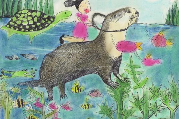 """Travel with a Beaver"" by Ellie Choe (7), Grand Prize Winner Category I, Whitestone, NY (c) 2014 River of Words"