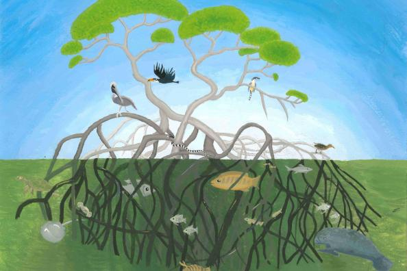 "Category III Winner (Grades 6-8) ""Tree of Life"" Nicole Li, age 12. Johns Creek, GA. Shijun Art Studio - Teacher: Shijun Liu"