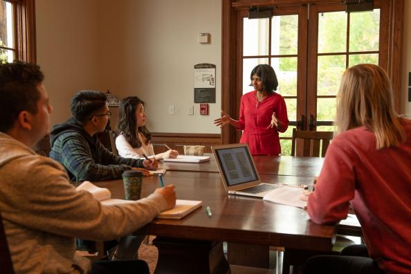 JCL Professor Manisha Anantharaman in a class at SMC.
