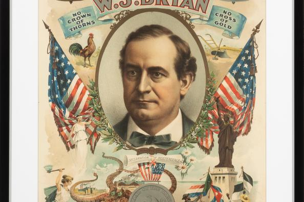 unidentified artist, Democratic Party candidate William Jennings Bryan, 1900; lithograph on paper, 28 1/2 x 18 1/2  inches; Courtesy of Library of Congress.